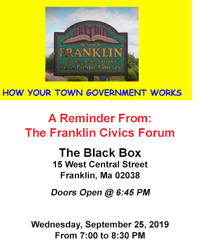 Reminder: Your Town Government - Sep 25