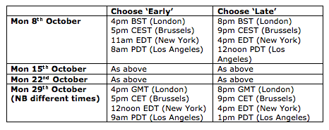 Timings of October Online Training - showing BST/CEST/EDT and PDT timings