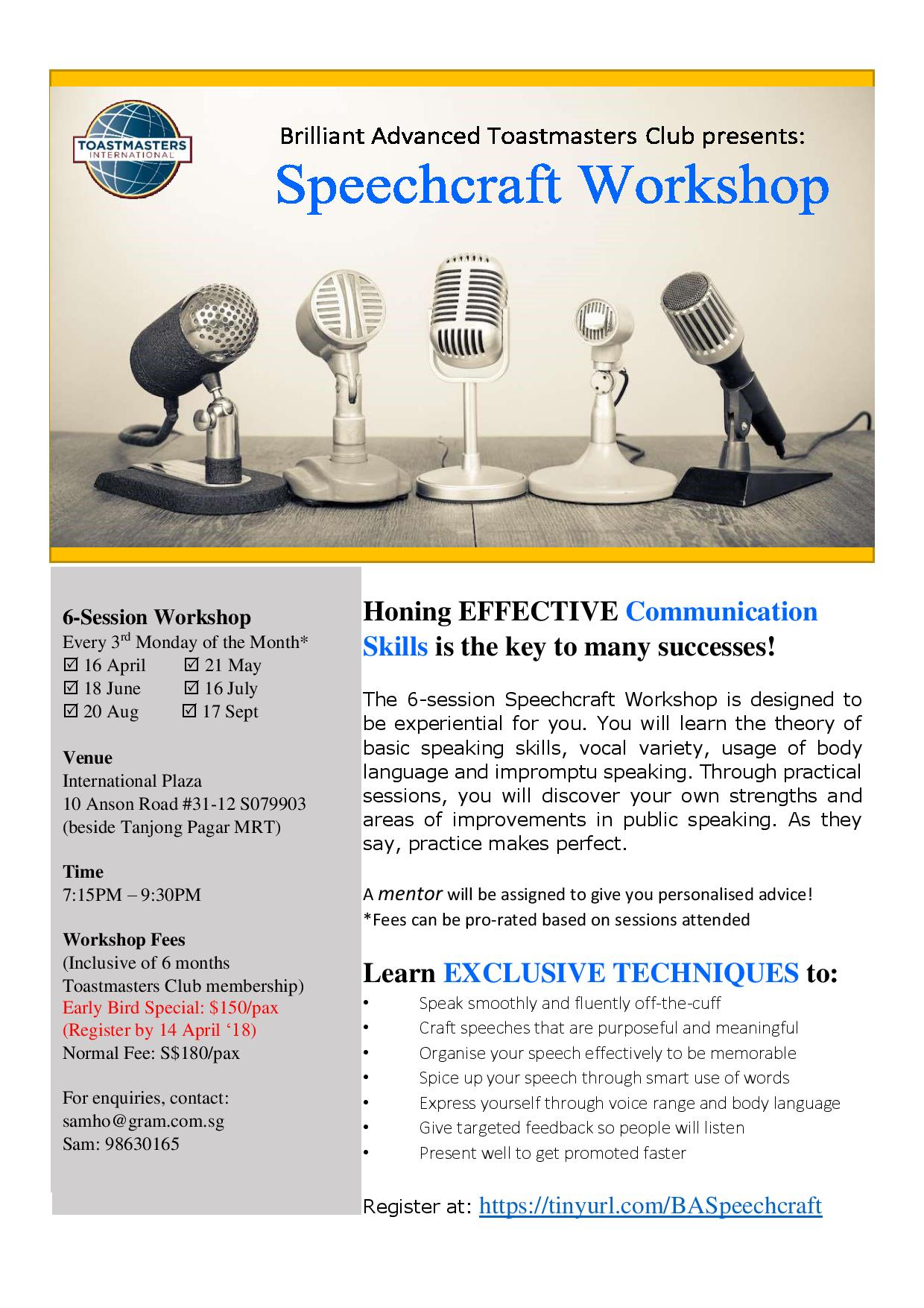 Speechcraft Workshop (Apr to Sep 2018)