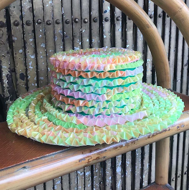 Hat made of recycled straws