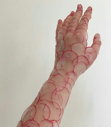 Scaly arm effect made by thinly sliced radishes