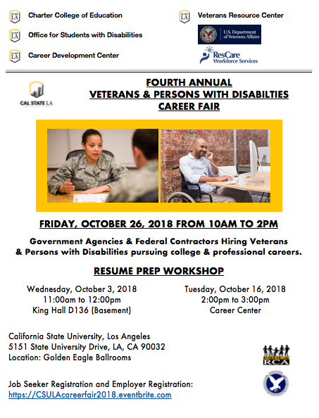 Flyer for the Veterans and Persons with Disabilities Career Fair