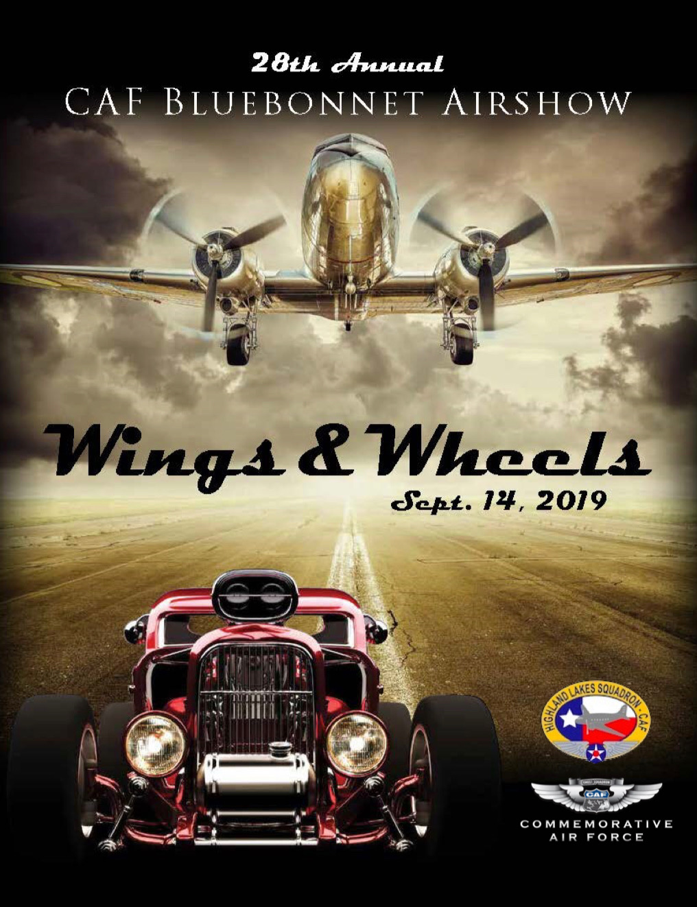 Printed Flyer with Historic airplane and hot rod automobile. Airshow Dates Sept 14 2019