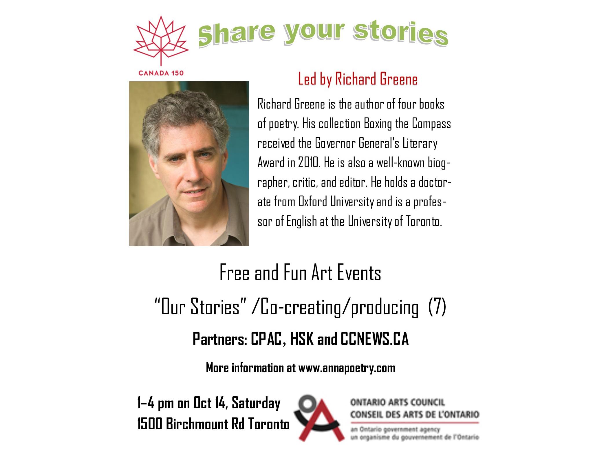 Poetry Richard Greene Work Shop Oct. 14