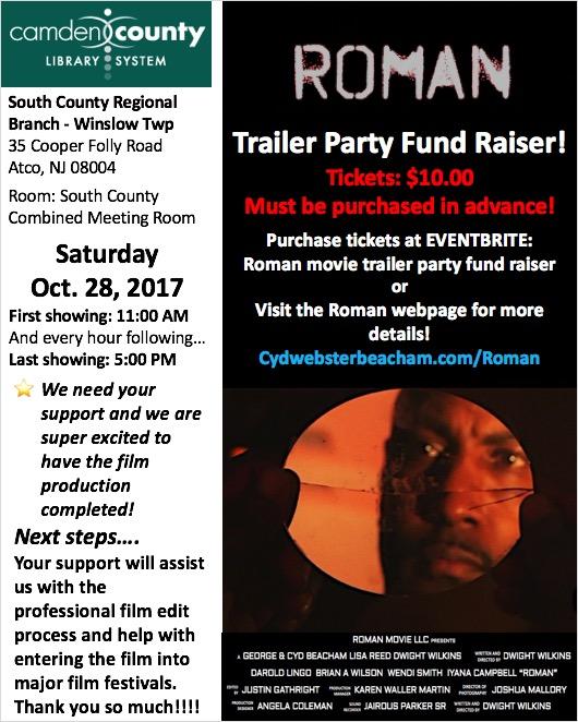 Roman trailer party flyer