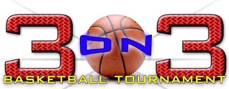 3 on 3 basketball tournament logo