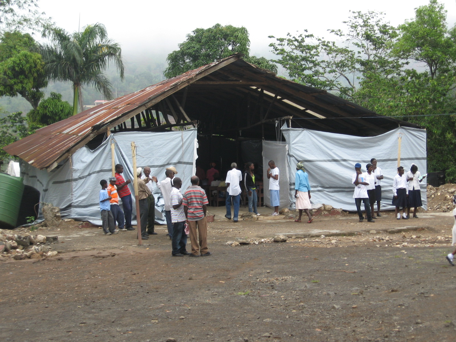 Makeshift church at St. Gabriel parish