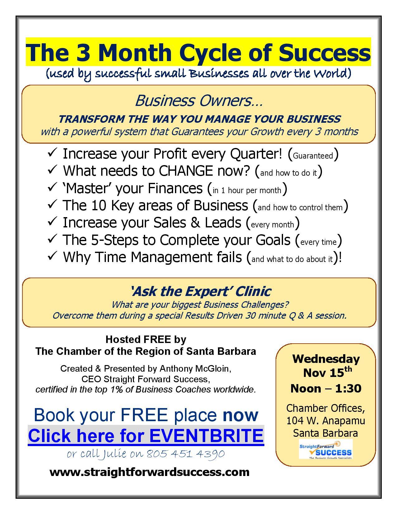 3 month cycle of success Santa Barbara