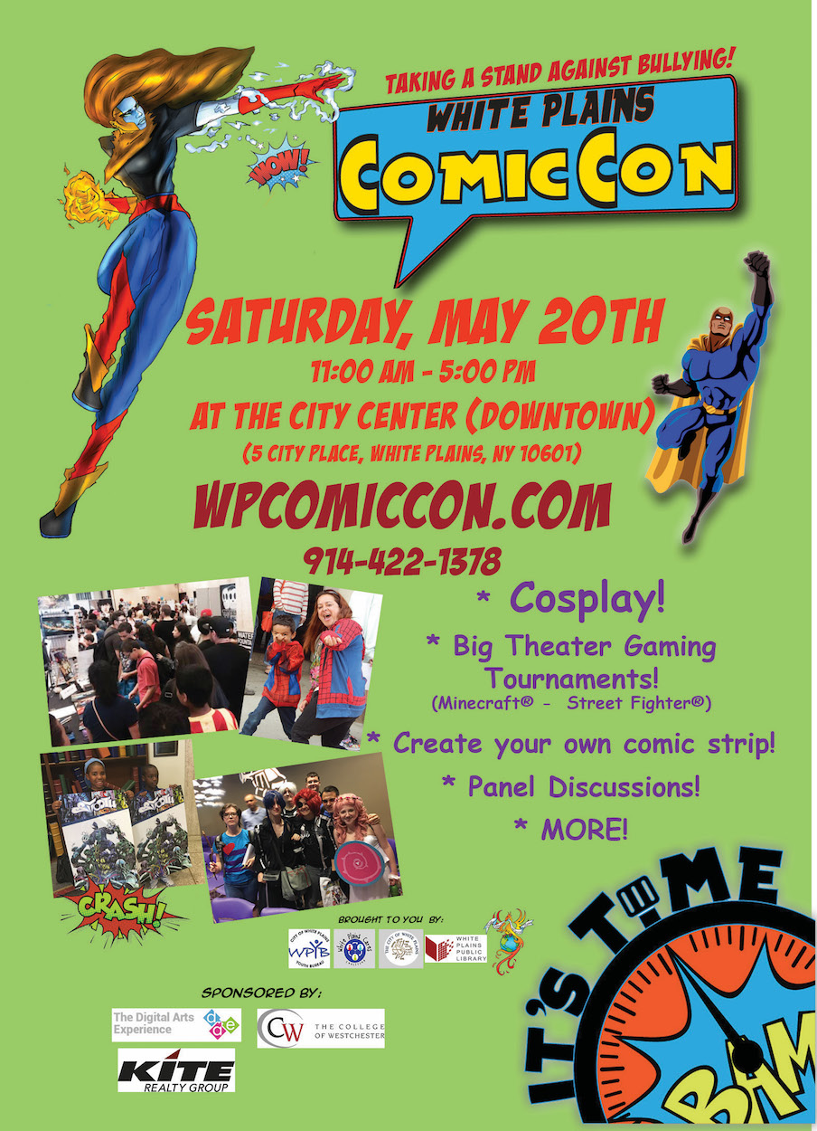 white plains comiccon registration sat at am access to interactive workshops 3d printing super hero button making create your own comic book paid for non registered