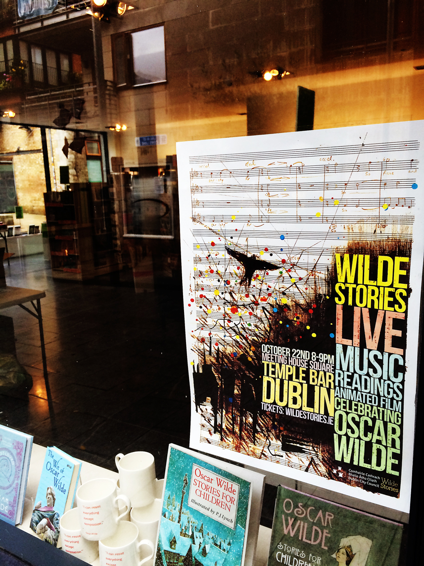 Wilde Stories Live - Our Poster in The Gutter Bookshop Temple Bar
