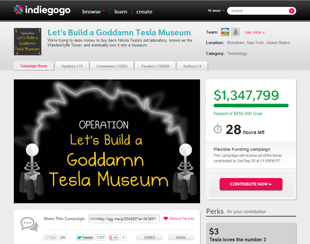 Building a Tesla Museum on IndieGoGo
