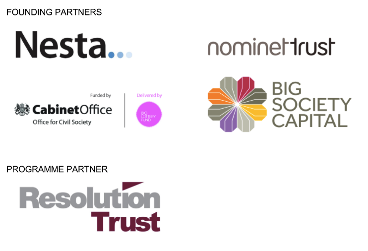Founding and programme Partners - Nesta, Nominet Trust, The Cabinet Office, Big Society Capital Resolution Trust