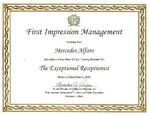 The exceptional receptionist training Certificate of Completion