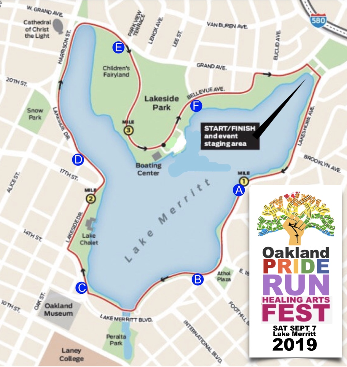 2019 Oakland Pride Run Simple Map and Logo