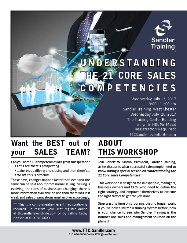 Complimentary Workshop - The 21 Core Sales Competencies