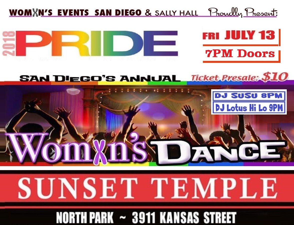 PRIDE Womxn's Dance Friday July 13th. 7PM - 11pm