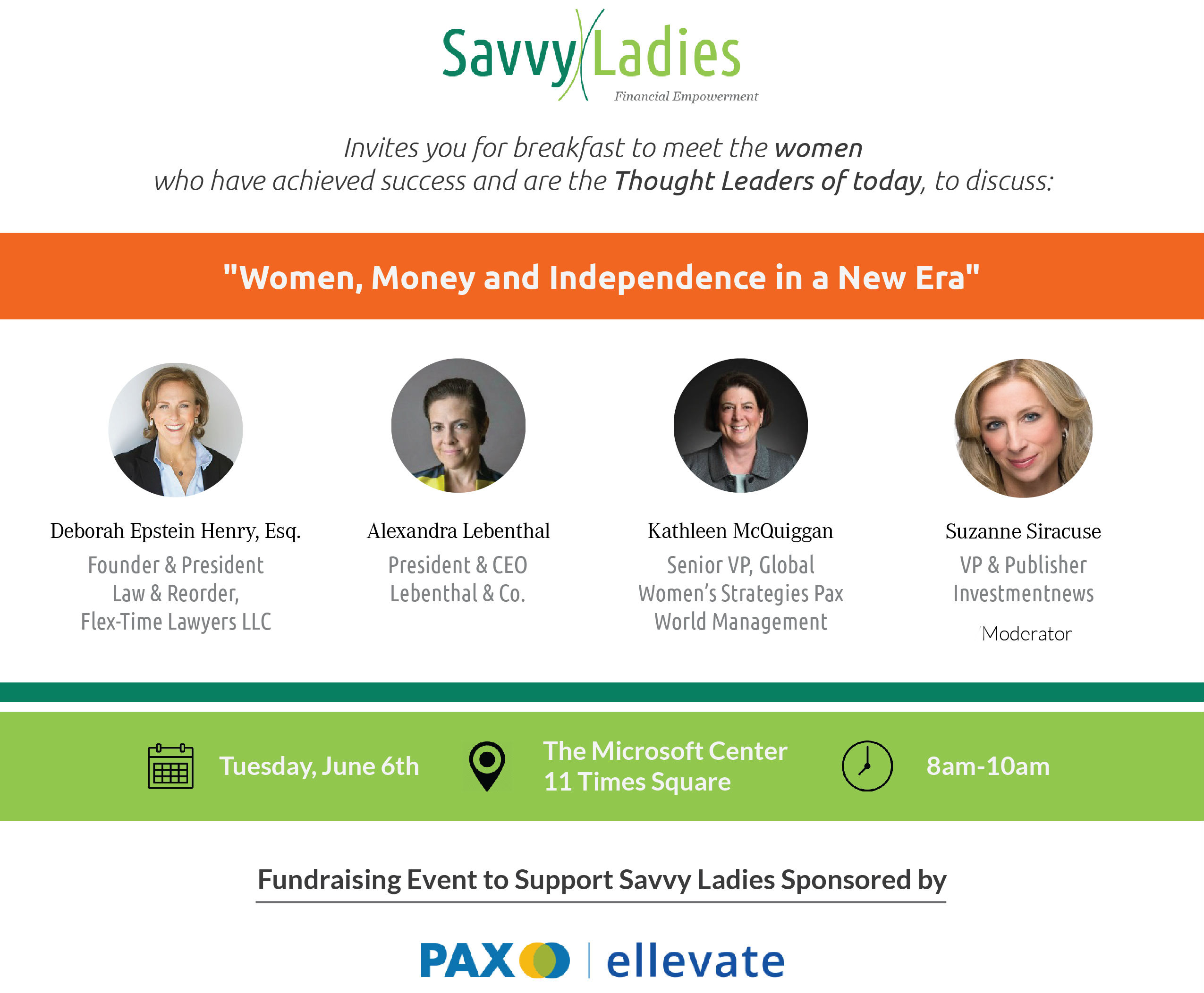 Savvy Ladies Breakfast Panel June 6
