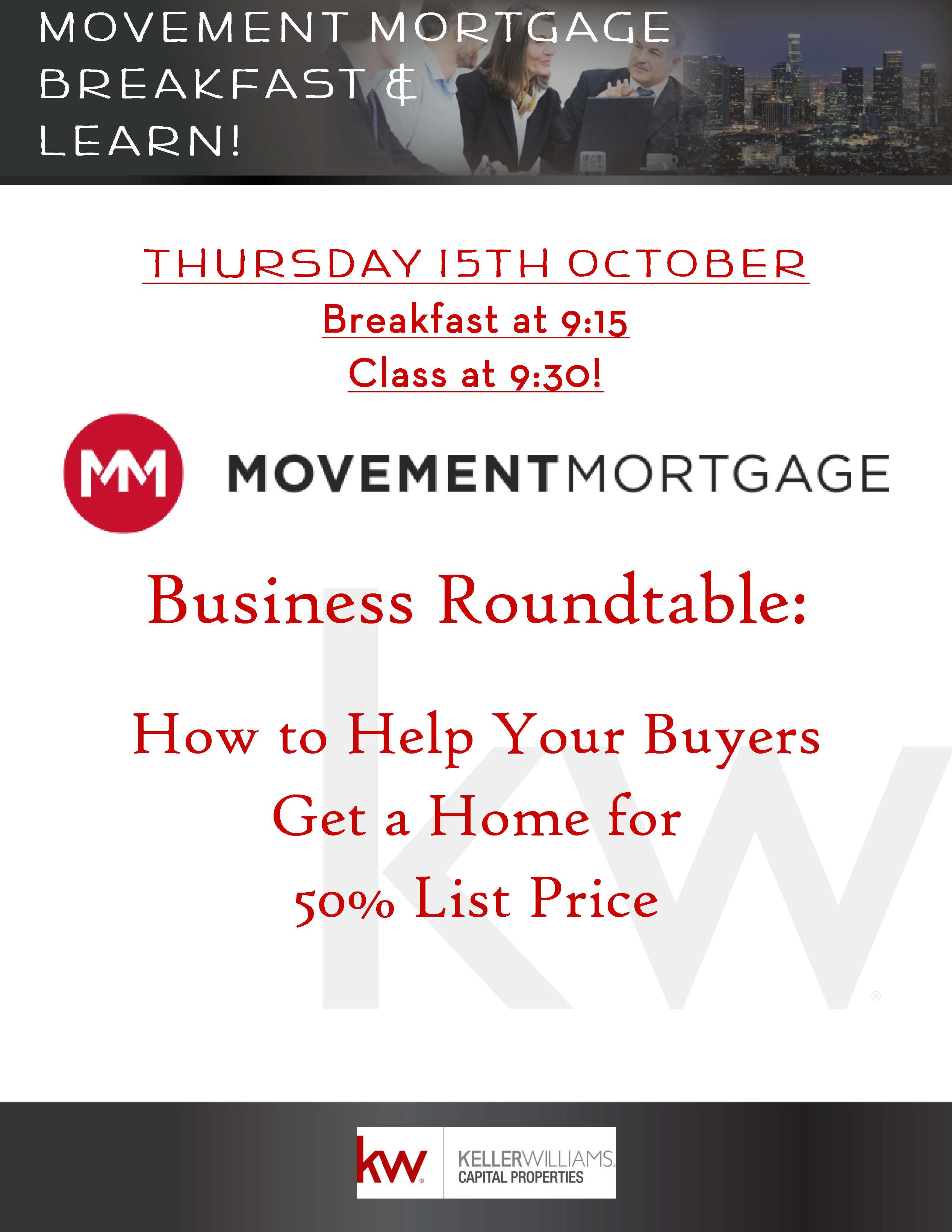 Movement mortgage breakfast learn tickets thu oct for Learn mortgage