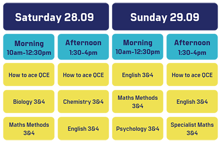 Free QCE Lectures - Timetable