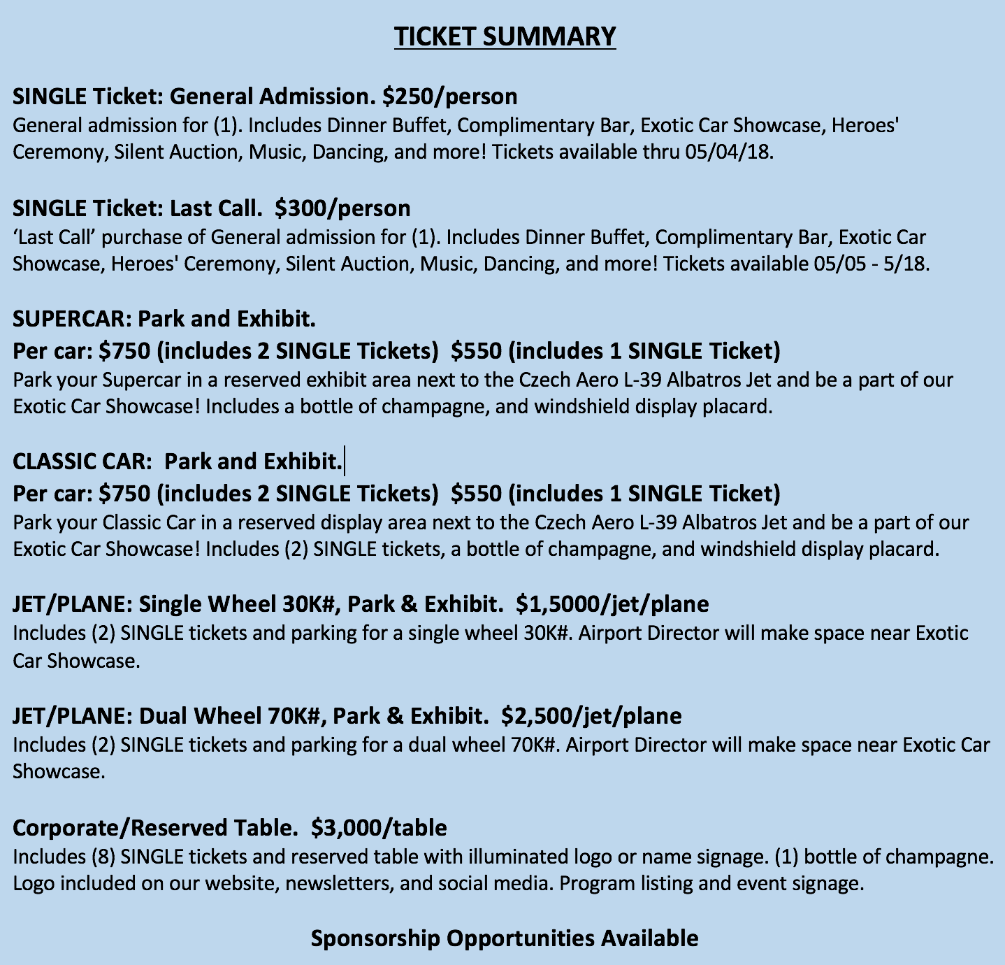J&C Ticket Descritption