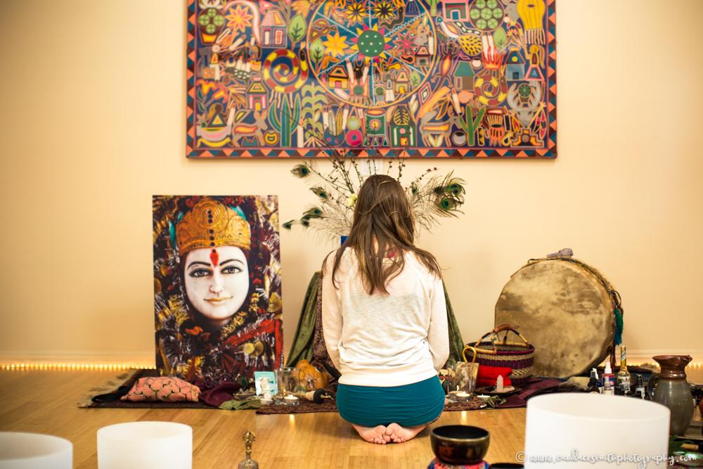 Woman at Altar Living Wisdom School