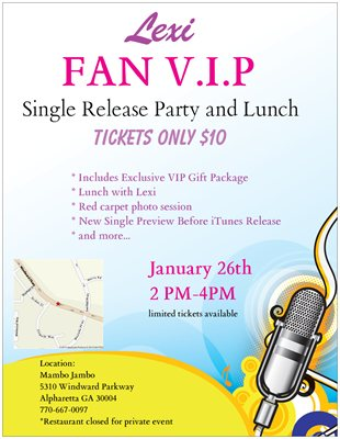 Single Release FAN VIP Party and Lunch w Pop Singer Lexi