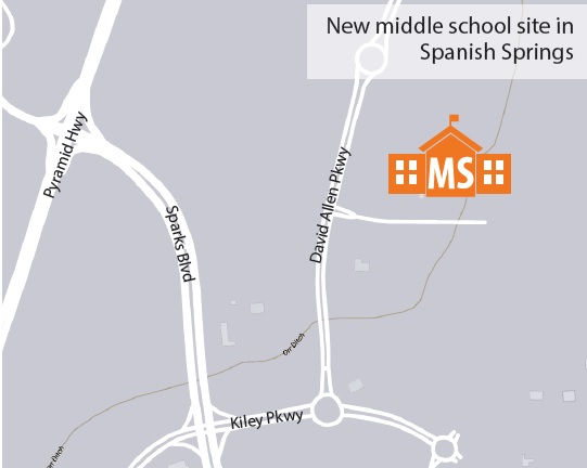 Map image of location of new middle school in Spanish Springs
