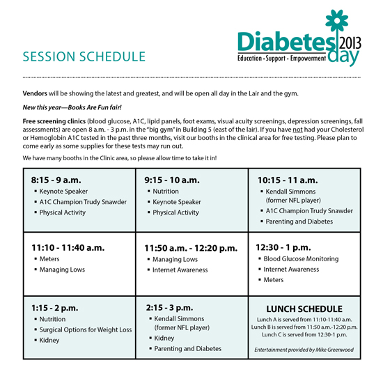Diabetes Day 2012 Session Schedule