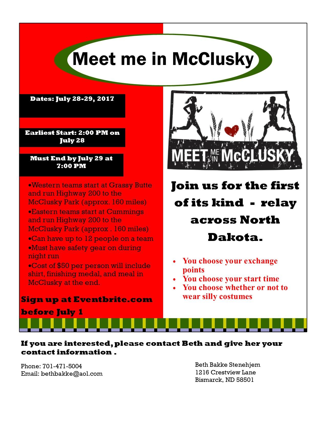 Flyer for Meet me in McClusky