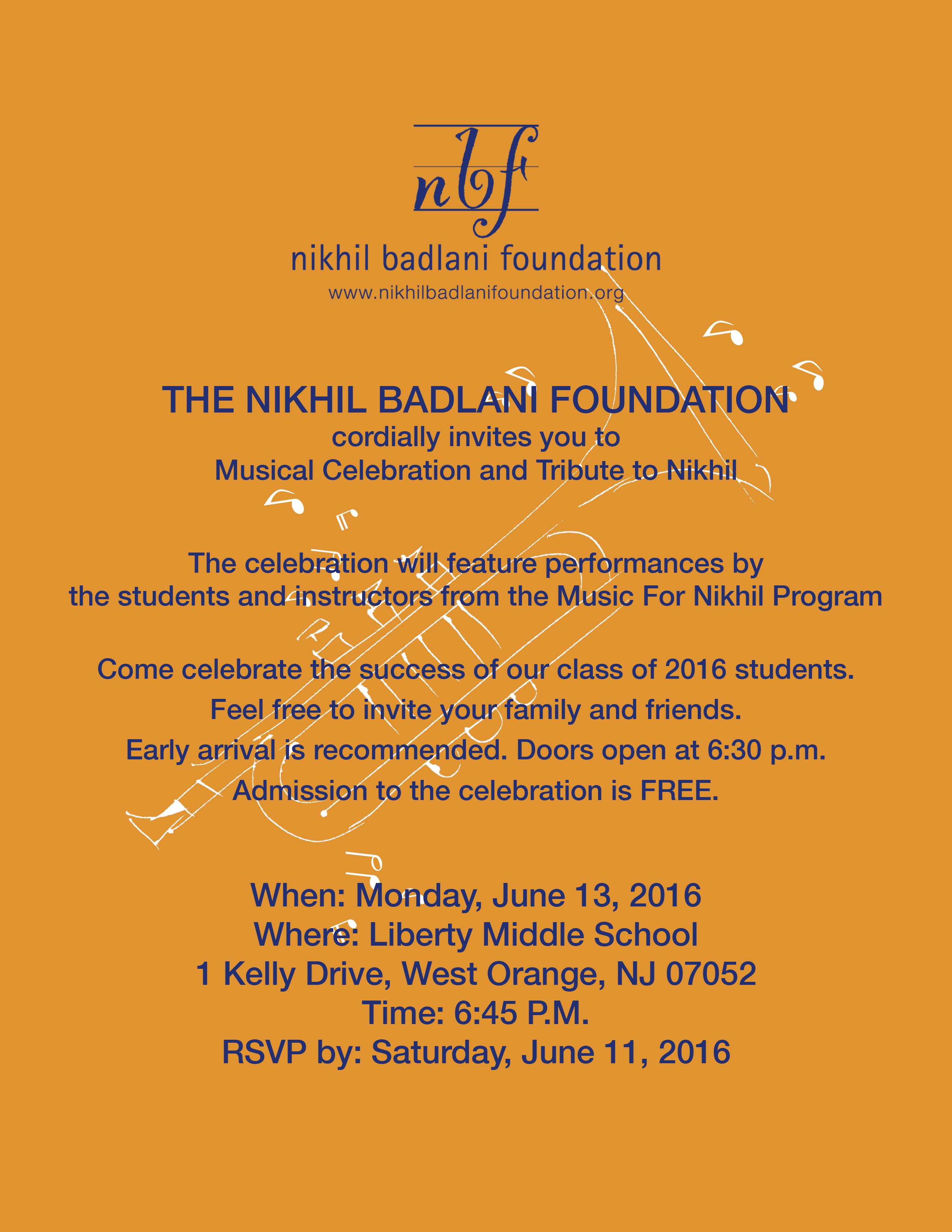 Music for Nikhil 2016 is on June 13 at 6:30 PM at Liberty Middle School, West Orange, NJ 07052
