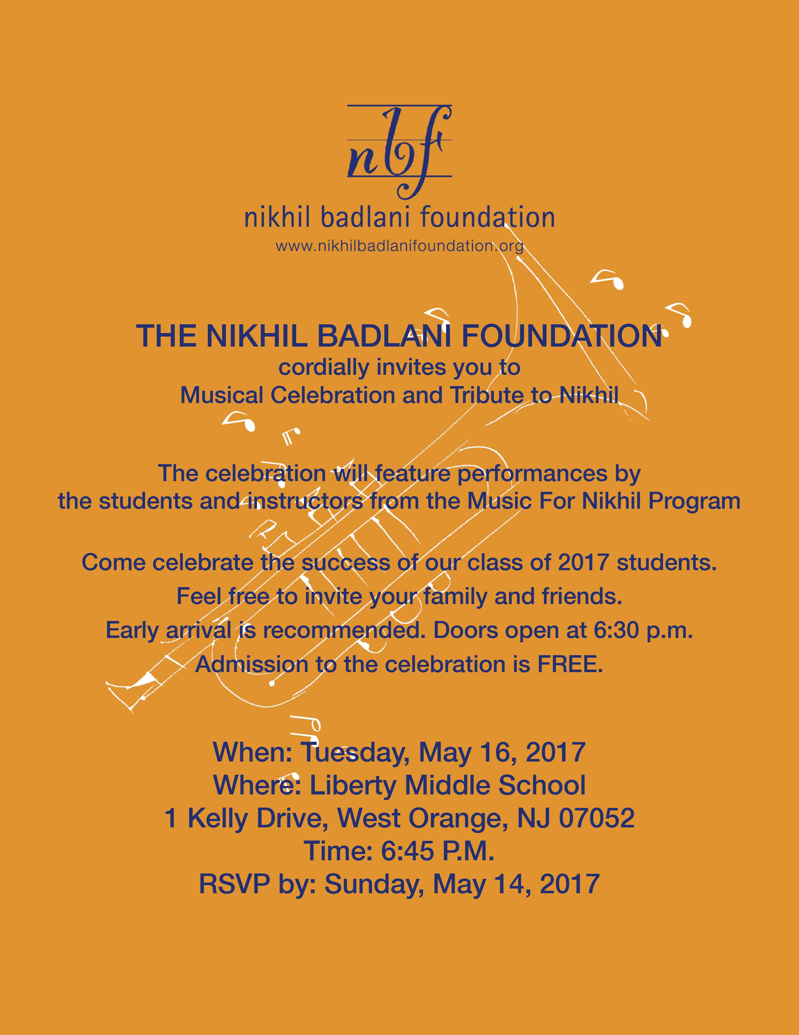 Music for Nikhil 2017 is on May 16 at 6:30 PM at Liberty Middle School, West Orange, NJ 07052
