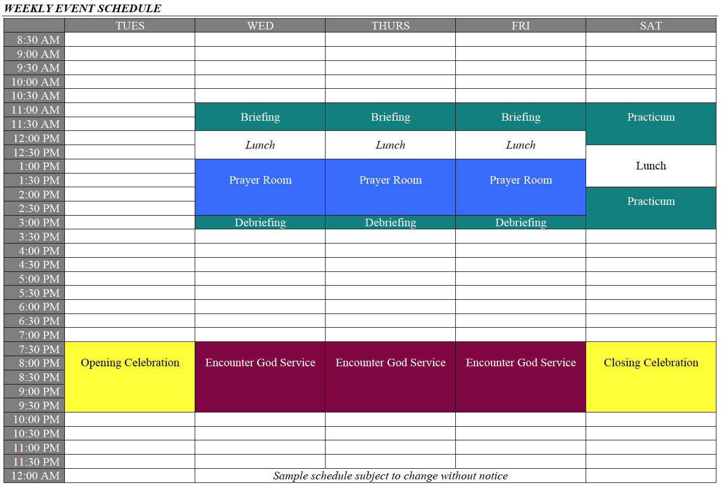 Ignite St. Kitts Event Schedule