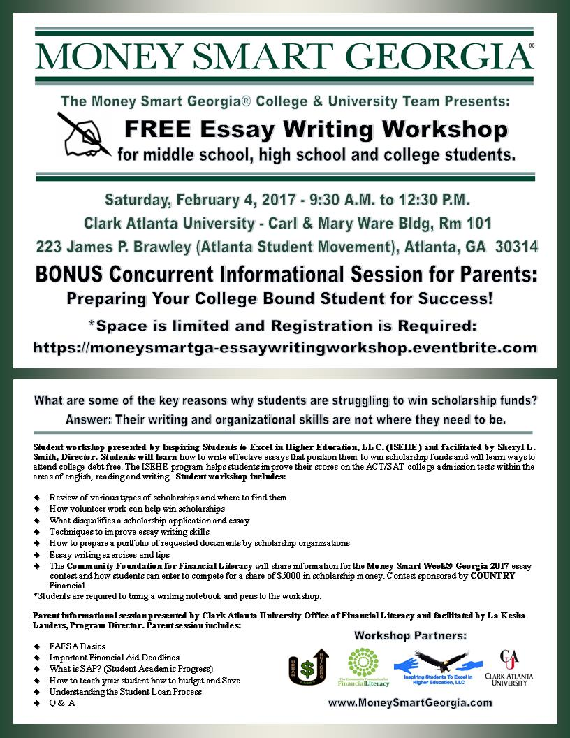 money smart ® essay writing workshop tickets sat feb 4 money smart essay writing workshop flyer