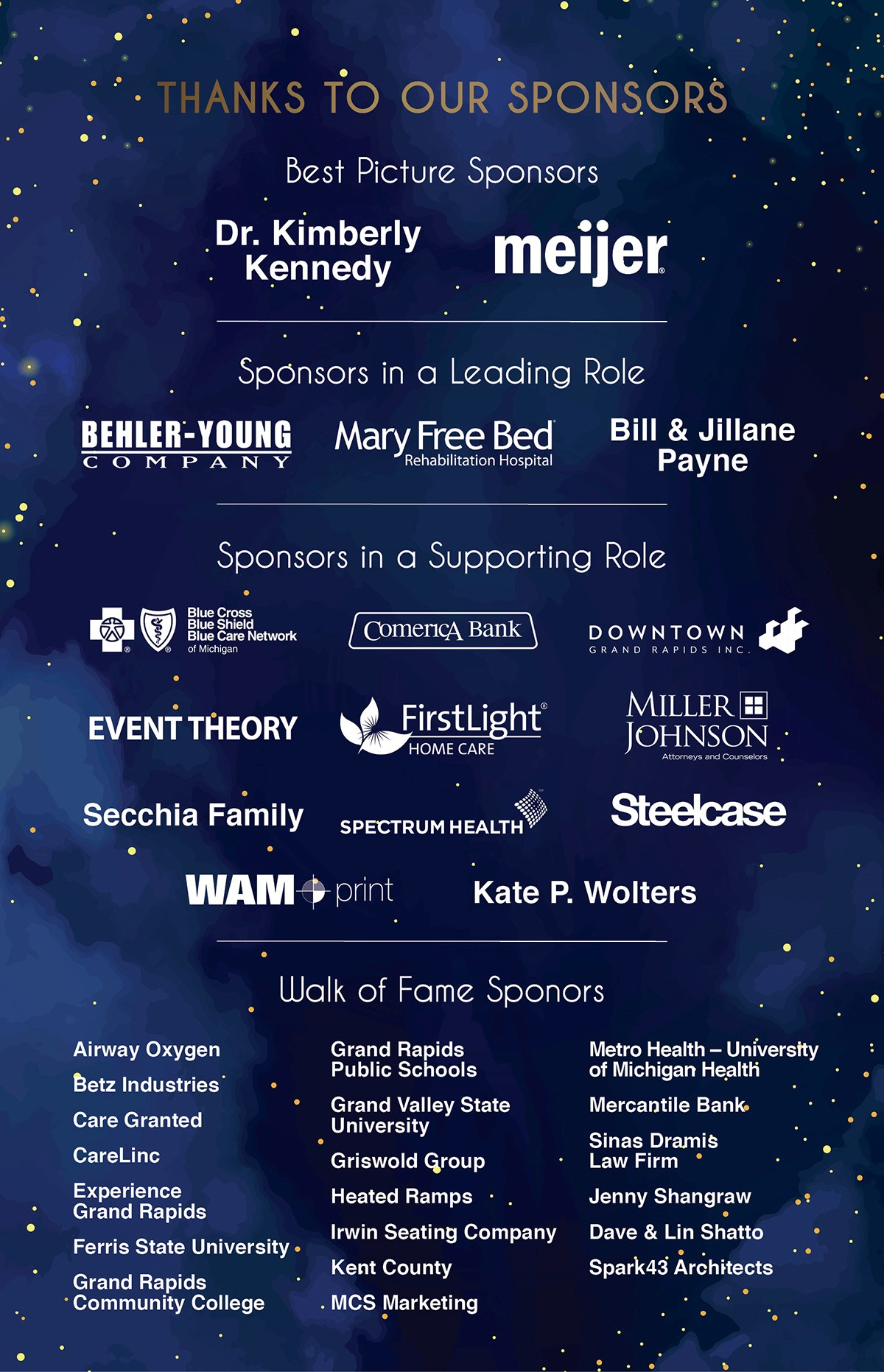 Thanks to our sponsors! Kimberly Kennedy, Meijer, Behler-Young, Mary Free Bed, Bill & Jillane Payne, and many more.