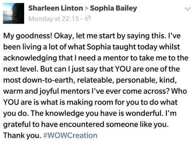 mentor entrepreneurs sophia bailey feedback review testimonial