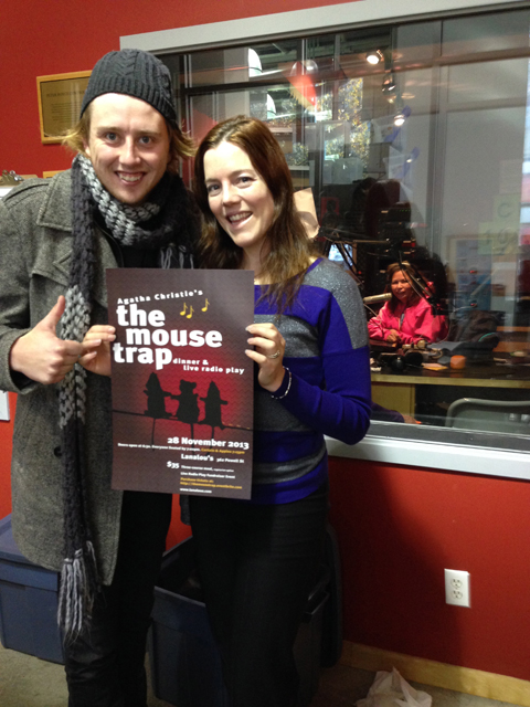 The Mousetrap cast gets media attention! We were on Co-op Radio 100.5 FM and are going on again this Thursday at 5pm. In photo: Style Dayne (plays Christopher Wren) and Meeshelle Neal (plays Miss Casewell)