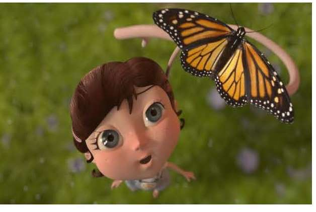 Animated picture of young girl and butterfly with a tail