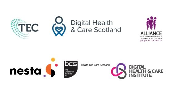 Logos of the following organisations: Scottish Government Technology Enabled Care and Digital Health and Care divisions, Health and Social Care Alliance Scotland, Digital Health and Care institute, Nesta and BCS Health and Care Scotland.