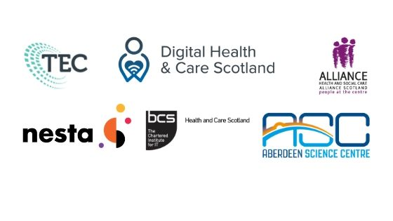 Logos of the following organisations: Scottish Government Technology Enabled Care and Digital Health and Care divisions, Health and Social Care Alliance Scotland, Nesta, Create Converge and Aberdeen Science Centre.