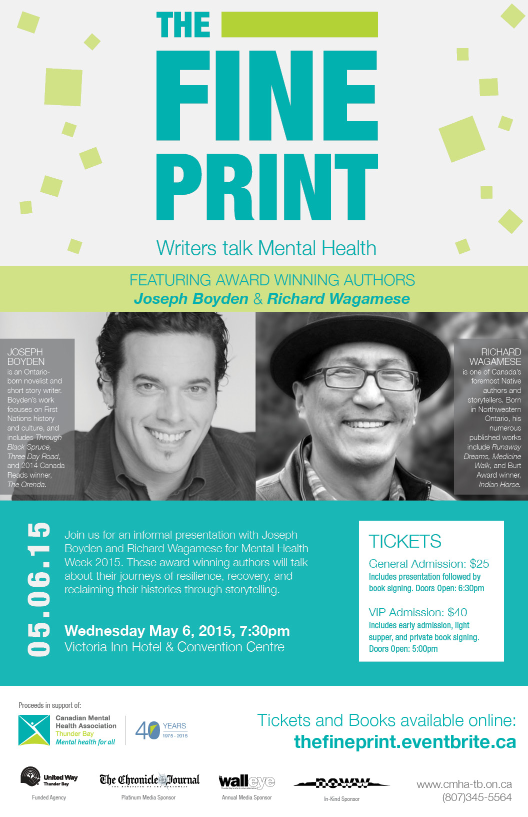 Mental Health Week 2015: The Fine Print: Writers Talk Mental Health (May 6, 2015. Thunder Bay)