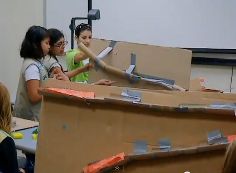 Young engineers create solutions for a design problem at Wow! That's Engineering!