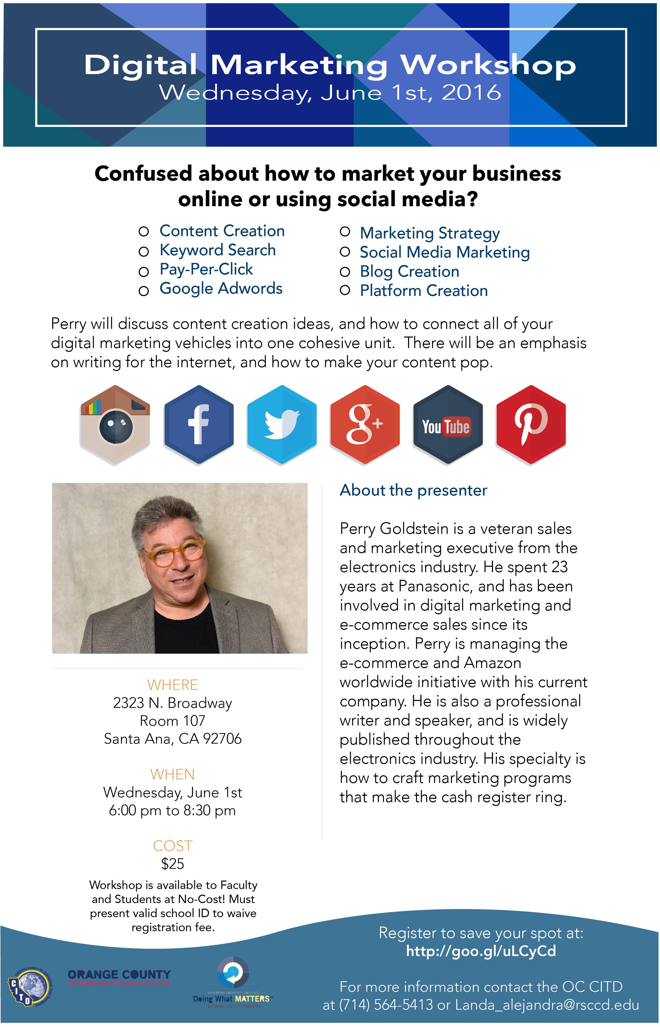 Digital marketing workshop flyer