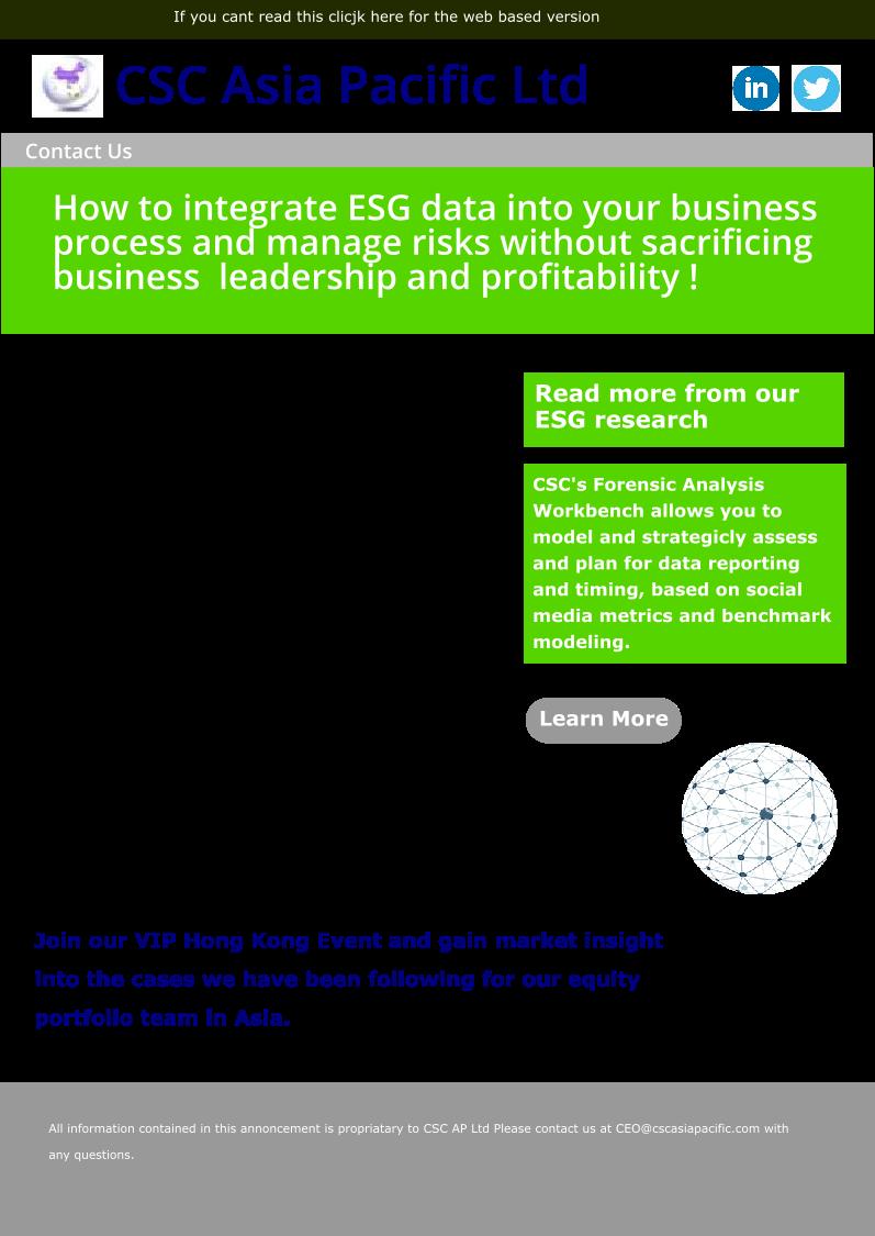 Mailer for ESG Hong Kong