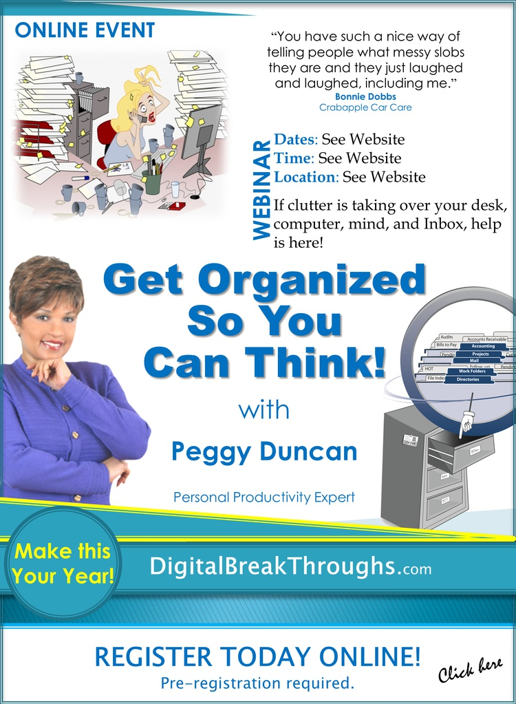 Get organized with Peggy Duncan Webinar