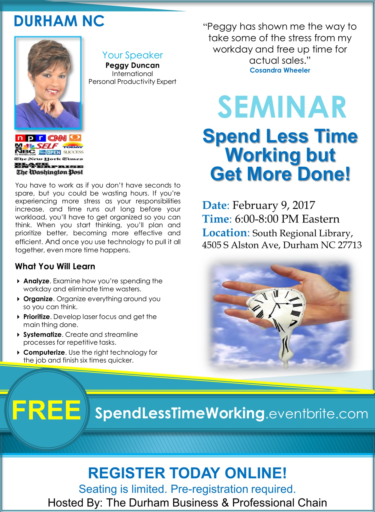 Free time management seminar with Peggy Duncan Personal Productivity Expert