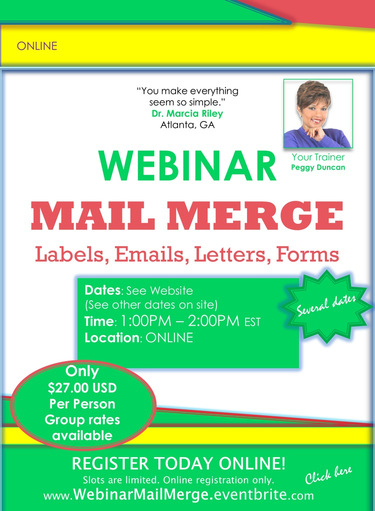 Mail Merge Webinar with Peggy Duncan