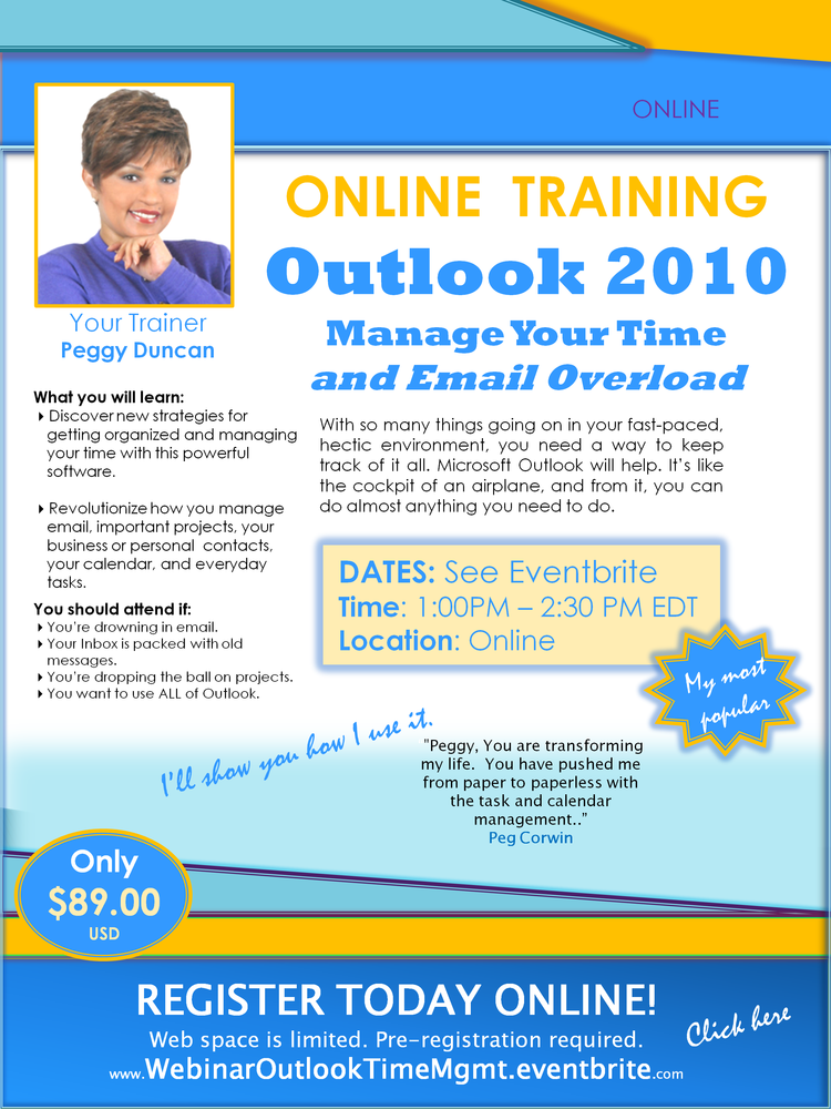 Online training Outlook 2010 with Peggy Duncan