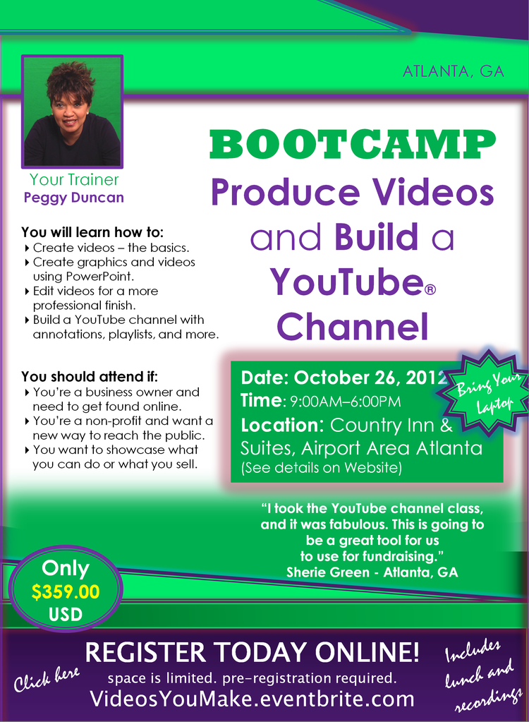 Video PowerPoint and YouTube training with Peggy Duncan
