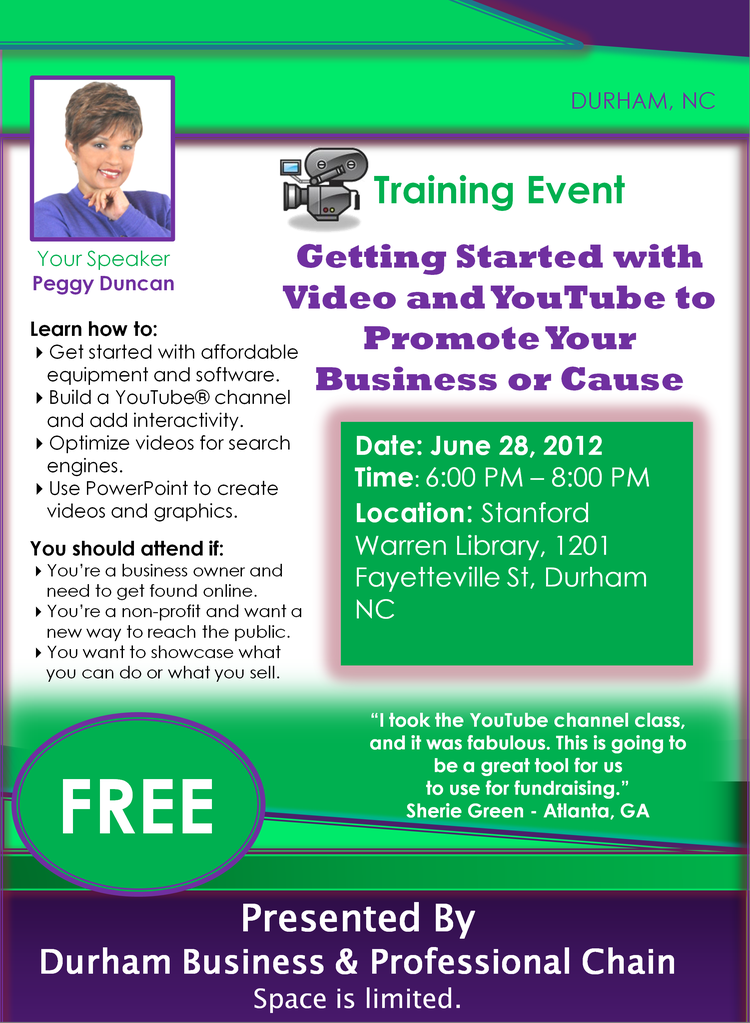 Getting started with video and YouTube - training with Peggy Duncan