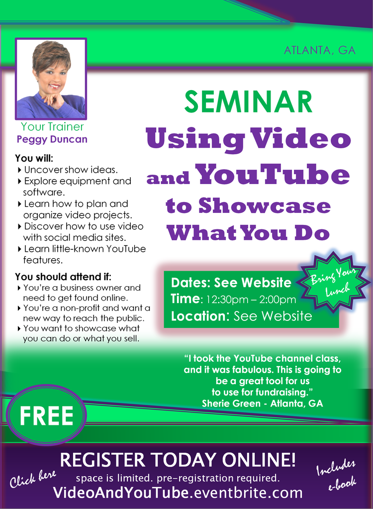 Peggy Duncan's YouTube seminar Getting started with video